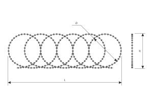 Drawing of a Concertina flat security barrier