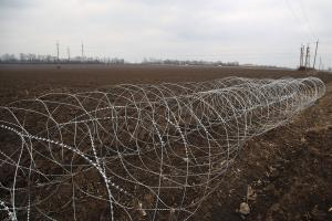 Two spirals of Concertina razor wire network