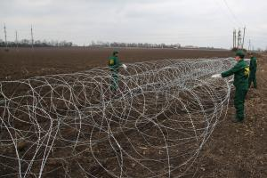 Installed Concertina razor wire network